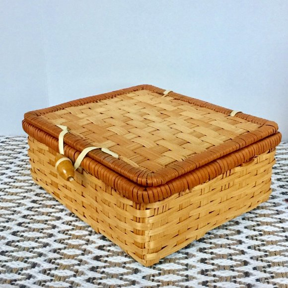 Vintage Wicker Basket Trinket Box Boho Decor